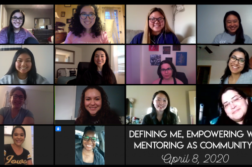"A screenshot of a Zoom meeting consisting of 14 people, with text in the bottom right corner that says ""Defining Me, Empowering We: Mentoring as a Community!"""